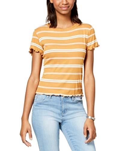Hippie Rose Juniors' Striped Lettuce-Edge T-Shirt (Gold, XL)