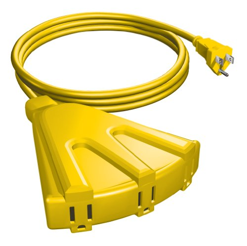 STANLEY 34087 Grounded 3-Outlet Outdoor Extension Power Cord 3, 8-Feet, Yellow