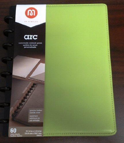 M by Staples Arc Customizable Leather Notebook System, Green, 6.75 x 8.75 inches