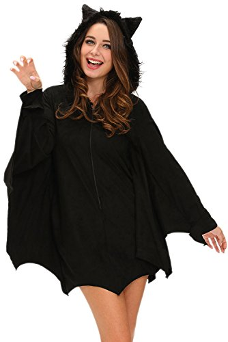 [Honeystore Women's Black Gothic Halloween Vampire Hood Costume Cozy Bat Outfits] (Halloween Little Dead Riding Hood Costume)