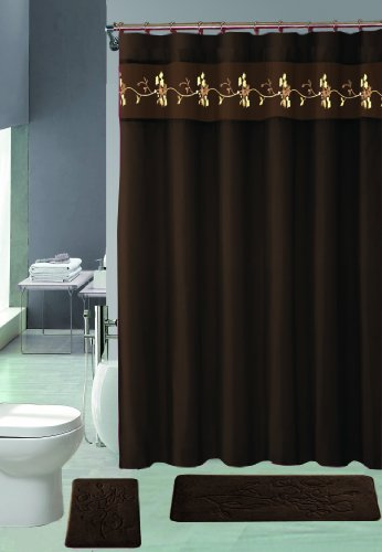 15 Piece Memory Foam Bath Rug Set Bathroom Rugs with Fabric Shower Curtain and Decorative Rings Choose From Burgundy Navy Coffee (Beverly Coffee) ()