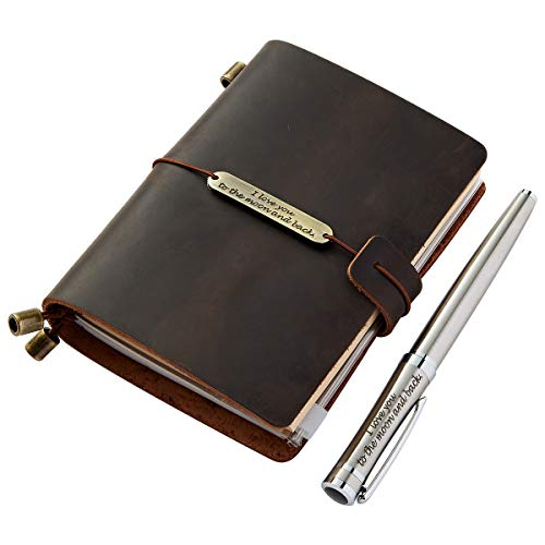 Refillable Travelers Journal with Pen, Handmade Genuine Leather Travel Journal Notebook for Men and Women, Small 5.3 x 4 Inches]()