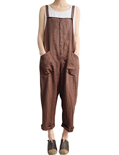 (Gihuo Women's Retro Style Cotton Linen Button Front Baggy Bib Overall Pocket Jumpsuit Romper Plus Size (Coffee, Small))