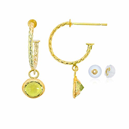 - 10K Yellow Gold 12mm Rope Half-Hoop with 4mm Round Lemon Quartz Bezel Drop Earring with Silicone Back