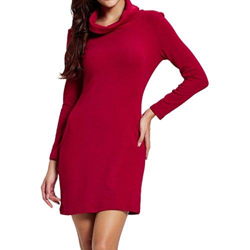 Dress Neck Ponte Cowl - Cekaso Women's Cowl Neck Dress Slim Fit Cotton Knitting Stretchy Long Sleeve Dress, Red, USsizeS=TagsizeL