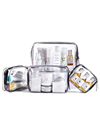 SOMIER 4 Pack/Size Waterproof Clear Toiletry Bag, TSA Approved PVC Zippered Carry on Pouch, Portable Travel Cosmetic Makeup Bag Organizer for Vacation Bathroom