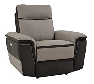 Homelegance Laertes Two Tone Power Reclining Chair Top Grain Leather Fabric  Match, Light Grey