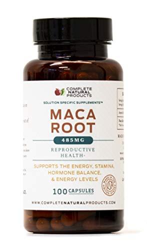 485mg 100 Capsules - Pure Maca Root Powder Capsules - 100 Pills, 485mg of Pure and Raw Red, Black, Yellow Peruvian Ginseng