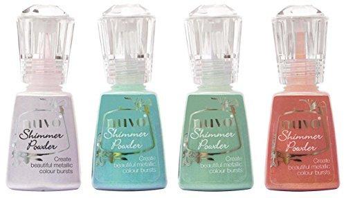 Nuvo Shimmer Powder Multi-Colors Bundle - Violet Brocade, Atlantis Burst, Green Parade and Catherine Wheel - 4 Bottle Bundle by Nuvo Shimmer Powder