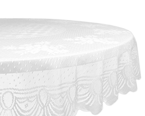 DII Home Essentials 100% Polyester, Machine Washable, Shabby Chic, Vintage Tablecloth or Overlay 63″ Round, Floral Lace