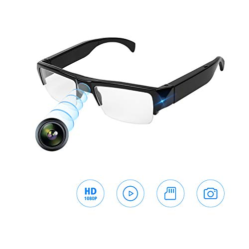 YAOAWE Spy Camera Glasses with Video Recording, 1080P HD Hidden Camera,Super Small Surveillance Snapchat Spectacles Glasses,USB Charger