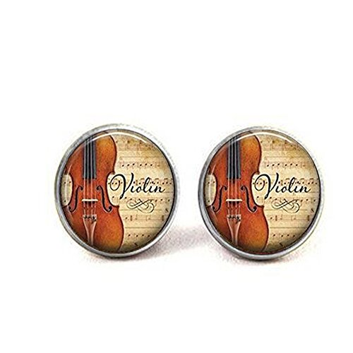 Violin and Music Earrings, Musician's Gift, Music Teacher's Gift, Violinist Gift Violin Earrings Music Student Gift]()