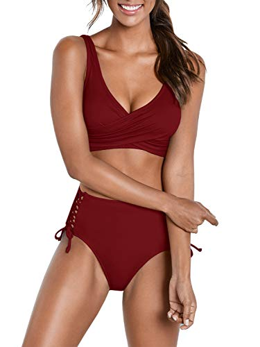Yacooh Womens High Waisted 2 Piece Bikini Set Bandage Criss Cross Lace Up Cutout Wrap Solid Color V-Neck Swimsuit Wine Red