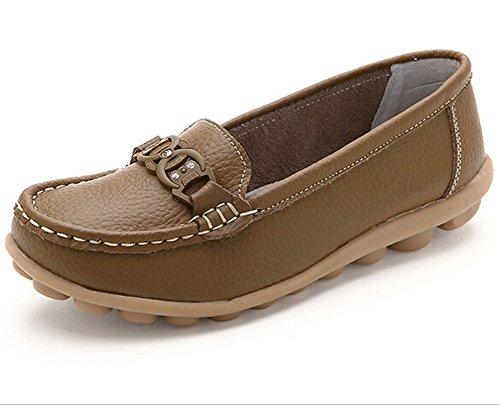 Lucksender Womens Rhinestone Casual Flat Loafer Shoes Khaki TSvkZIstWH
