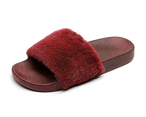 (Charles Albert Women's Soft Faux Fur Marabou Flat Slide Sandal (7 M US, Burgundy))