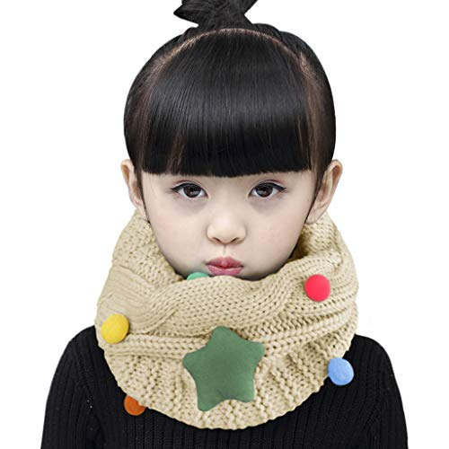 Child Neck Gaiter Infinity Scarf Winter Snood Cold Weather Warm Circle Loop Scarf Wrap Kids Knit Fashion Scarf Thick Chunky Neckerchief Soft Neck Warmer with Stars for Boys Girls Toddler 2-14 Year