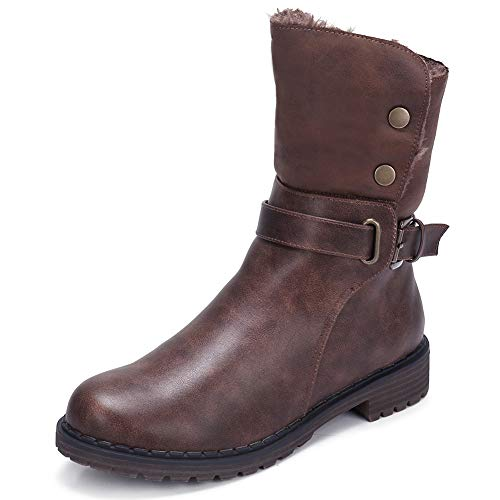 CAMEL CROWN Women's Warm Winter Boots Round Toe Leather Chunky Low Heel Faux Fur Winter Riding Boots Zipper Buckle Strap