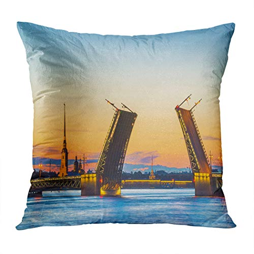 Peyqigo Throw Pillow Cover 20x20 Inch View Palace Bridge Peter Paul Fortress St Petersburg White Nights Russia Polyester Square Cushion Bedroom Couch Sofa Car Decorative Pillowcase ()
