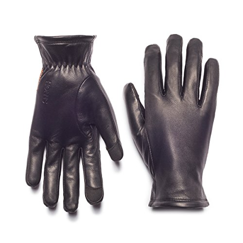 HONNS Women's Selina Gloves (Premium European Lambskin, Plush Lining, Touchscreen Compatible) Noir L