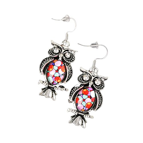 Stylish Silvertone Niello Dangle Earrings Red Pink Owl on Branch Glass Jewelry (Owls Red)