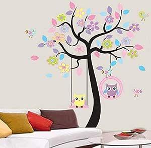 ملصق حائط للأطفال مطبوع عليه زهرة بومة لطيفة ملصق حائط قابل للإزالة