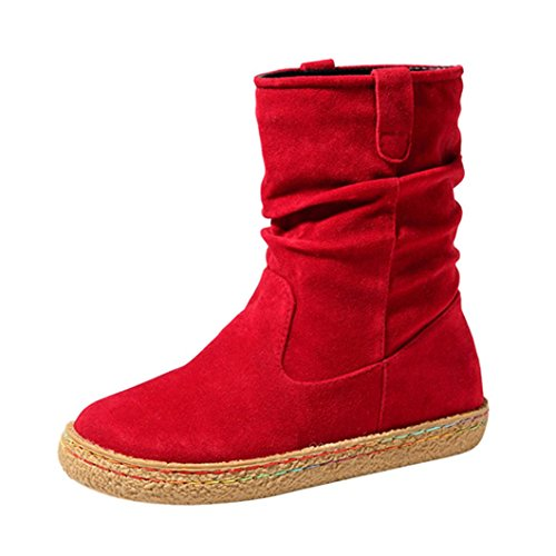 Elevin(TM) 2018Women Winter Fashion Suede Leather Mid-Calf Combat Boots Soft Flat Ankle Martin Shoes (6.5US, Red)
