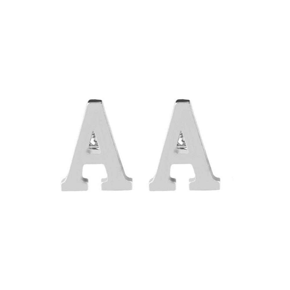 1 Paire de Boutons de Manchette de Chemise pour les Affaires de Mariage, SilverAlphabet Lettre A-Z, Accessoires de Costume en Alliage,1.4x1.9cm 1.4x1.9cm (A) BaconiXfF 25CLQ17FZ529G2TZC09