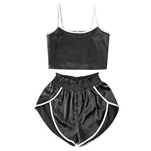 ast Trim Satin Cropped Cami Top and High Cut Shorts Set (Black, L) ()