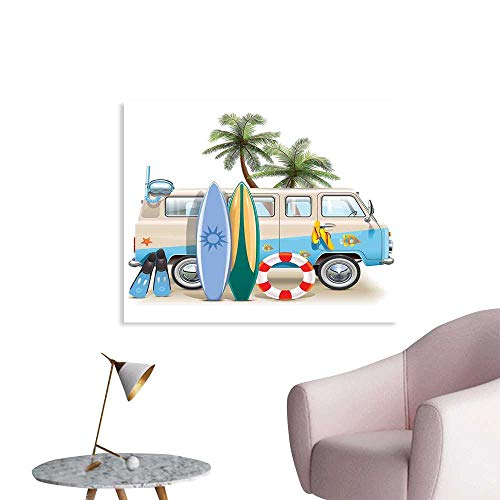 J Chief Sky Surf Custom Prints Poster Surfing Weekend Concept with Diving Elements Fins Snorkeling and Van Trip Relax Peace Mural Wallpaper W24 xL16