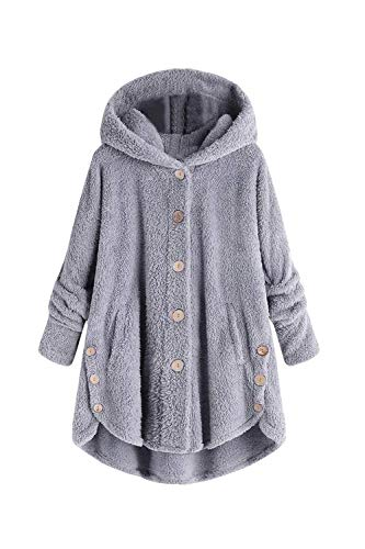 Button shirt Fluffy Sweat Gris Fourrure Vosujotis Outwear Fuzzy en Warm 045HxB