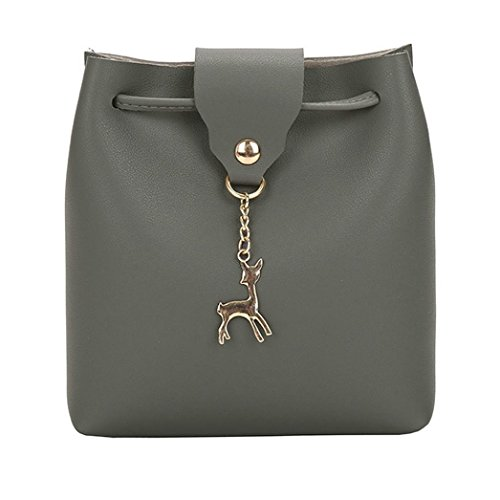 Crossbody Gray Messenger Purse Hasp Deer Womens Girls Bag Ladies Bag Bags Fashion Small Dark Shoulder Leather Bag Bucket 5Pq7T