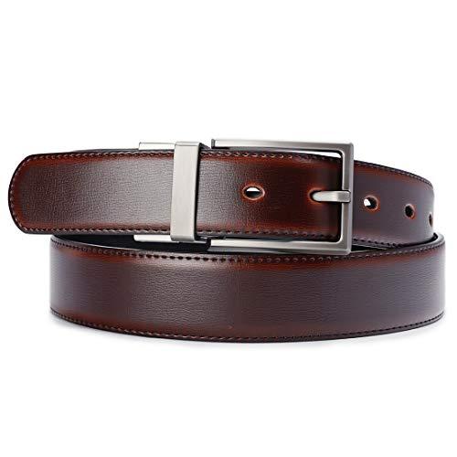 "Beltox Fine Men's Dress Belt Leather Reversible 1.25"" Wide Rotated Buckle Gift Box …"