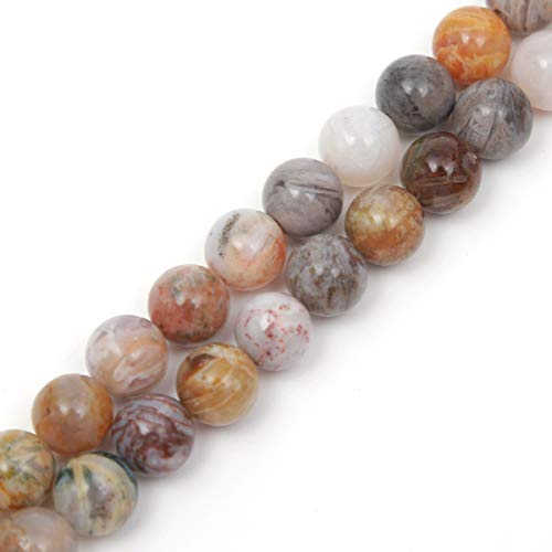 Genuine Natural Stone Beads Bamboo Leaf Agate Round Loose Gemstone 8mm 1 Strand 15.5