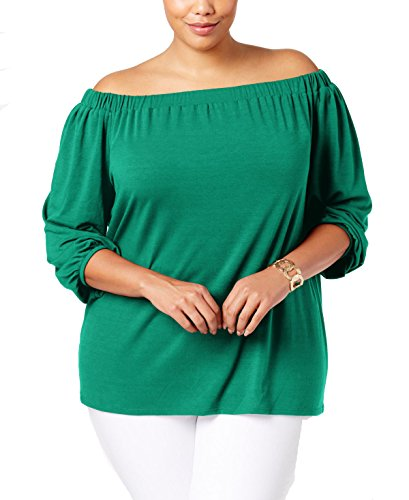 NY Collection Women's Plus Size Sld 3/4 Raglan Slv Off The Shoulder Knit Top with Bow Tie, Medium Green, 3X