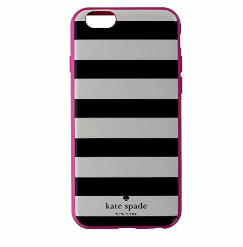 Kate Spade Flexible Hardshell Case Candy Stripe Black and White For Apple iPhone 6 and 6S -