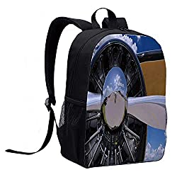 Airplane Decor Versatility Backpack,Propeller and Engine of Airplane Clouds Flight Historic Metal Oldwar Bird Transport Decorative for Trips,12L x 5W x 17H