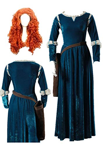 Brave Merida Princess Dress Costume Adult Women's Halloween Carnival Cosplay Costume (Female XS) Green]()
