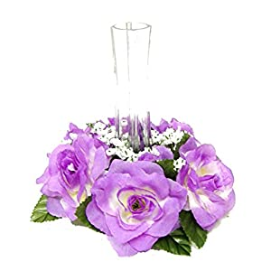 "Ella and Lulu Dessign Set of 12 Candle Ring or 6"" Mini Rose Wreath Floral Arrangement, One Size, Lavender 5"