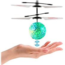 FunsLane RC Infrared Induction Flying Ball RC Helicopter Ball Toy with Shinning LED Lighting, Hand Induced Flight Ball for Teenagers Kids and Adults Colorful Flying Toy
