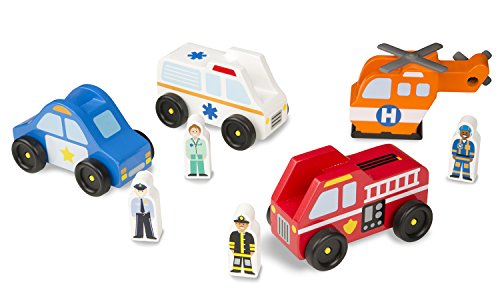 (Melissa & Doug Emergency Vehicle Wooden Play Set With 4 Vehicles, 4 Play Figures)
