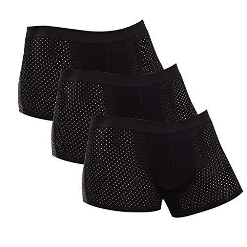 CAIKENI Men 3 PIC Underwear Trunks Comfort Soft Boxer Short Black XXXL