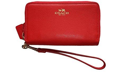 Coach Crossgrain Leather Double Zip Phone Wristlet 53141 Cardinal