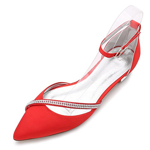 La Espumoso Fall de 25 D5047 Artificial high Red Para de Spring shoes Elegant Zapatos Mujer Zapatos Nupcial Diamante Corte Boda fqPaTw