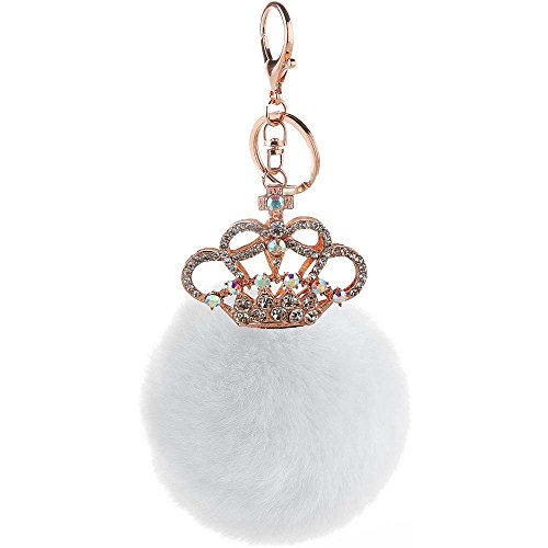 Crown Key Pendant (CHOP MALL Plush Pompom Ball Princess Crown Crystal Pendant Charm Keychain Accessory for Women Girls Handbag Purse Car Key Chain Cell Phone Keyring_White)