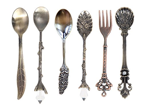 (Spoons and Fork Fingertips123 Coffee Dessert Spoons Kitchen Bar Vintage Royal Style Metal Carved Fruit Spoons)