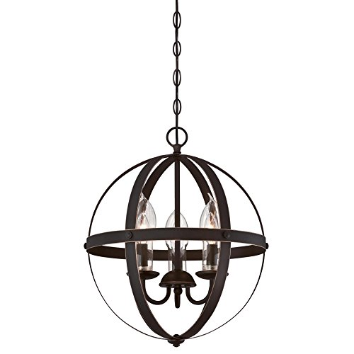 Westinghouse Lighting 6360600 Stella Mira Three-Light Chandelier, Oil Rubbed Bronze Finish with Highlights and Clear Glass Candle Covers Outdoor Pendant,