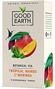 Good Earth Tropical Mango & Moringa Botanical Tea, Biodegradable Tea Bags, Tropical Mango & Moringa He