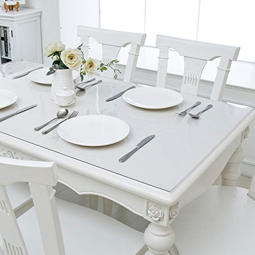Hewaba Home Rectangle PVC Table Protector - 42 x 60 Inches, 1.5mm Thick Custom Clear Waterproof Plastic Tablecloth, Kitchen Dining Room Wooden Furniture Protective Cover