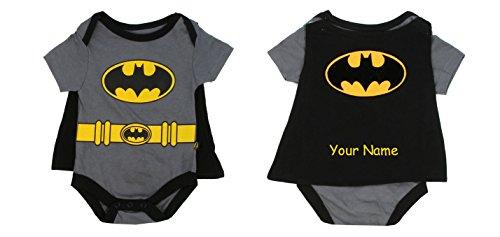 Penguin Kids Wear Personalized DC Comic Baby Short Sleeve Bodysuit Onesie with Cape (Batman 3-6)