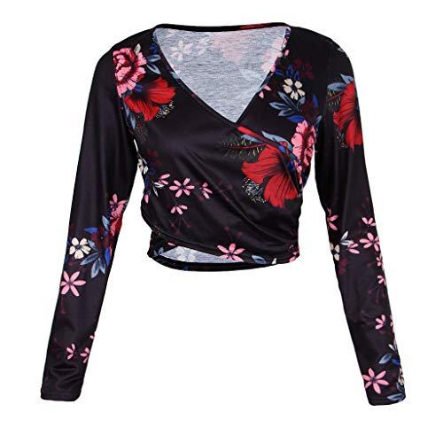 Baosity Camisa De Cosecha Floral Estampado Mujeres Largas Cuello V Fiestas De Disfraces Noche De Bachelorette - Negro, S